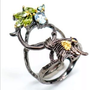 Artisan crafted peridot & topaz 925 ring size 6.25